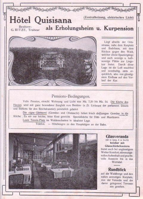 Anzeige in der Badewoche 1914 des Gräflichen Stahlbades Liebenstein - Archiv W.Malek