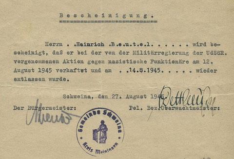 Bescheingung des Haftaufenthaltes 1945