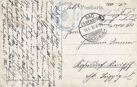 Vereinslazarett Augenheilanstalt Bad Liebenstein gelaufen 14.05.1916
