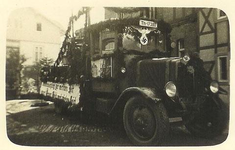 1000 Jahr Feier Schweina 1933, Wagen Baugeschäft Munk - Archiv Kai Ziegler