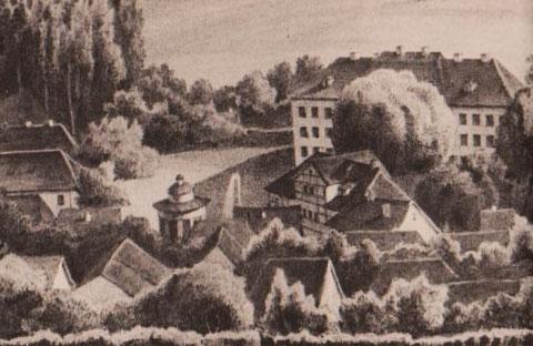 Fachwerkhaus in der Bildmitte ist das Zocher'sche Wirtshaus, die erste Post in Liebenstein