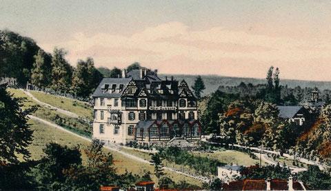 Hotel Quisisana 1910 - Repro W.Malek (rechts Villa Biedermann (Haus Hubertus) und Villa Frohberg (Dr.Lauth)