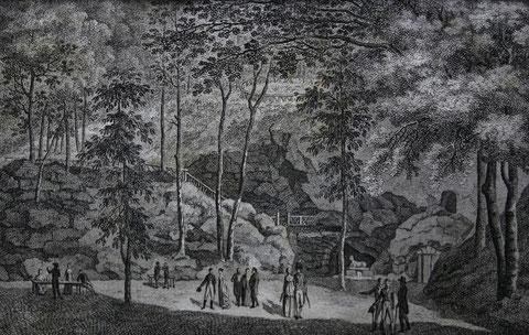 Der Erdfall und die neu entdeckte Höhle bey Liebenstein aus Taschenkalender von 1802 - Sammlung Frau Pfannstiel/Schweinad