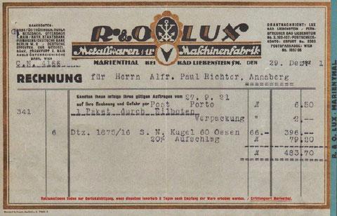 Rechnung vom 29.12.1921 - Repro W.Malek