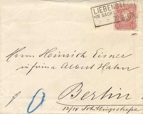 Liebenstein in Sachsen Meiningen 08.08.1879 - Repro W.Malek