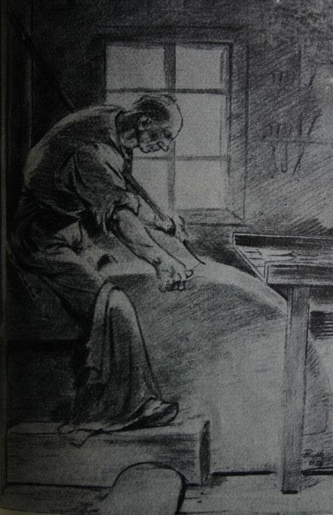 """Schleifer am großen """"Seeberger""""-Schleifstein - Veraltetes Schleifverfahren nach einer Zeichnung von Gustav Eichel-Kurt 1958"""