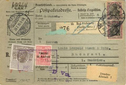 Paketkarte vom 26.07.1915 - Repro W.Malek