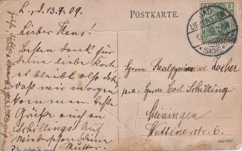 Karte, die die Mutter von Ernst Werner Hans Zocher am 13.07.1909 an den Realgymnasiasten nach Meiningen geschickt hatte - Sammlung Axel Gräber