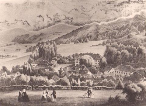 Das markante Haus rechts auf dem Stich von 1830 ist Haus Hupka -Archiv W.Malek