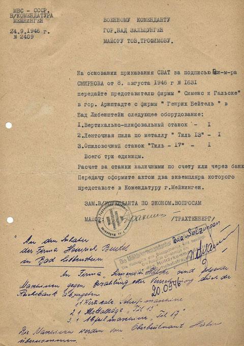 Dokument, das die Abgabe von drei Maschinen an die sowjetische Militäradministration bescheinigt. Der darin vereinbarte Preis wurde nie gezahlt !