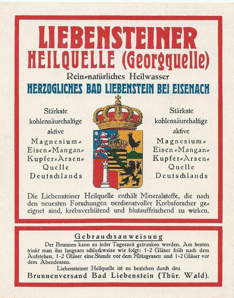 Liebensteiner Heilquelle -Georgquelle Etikett für Brunnenversand - Quelle: Fritz Lauterbach