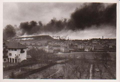 Vermutlich Brand der Scheune Bauer Reinhardt Meimerser Weg - Archiv W.Malek