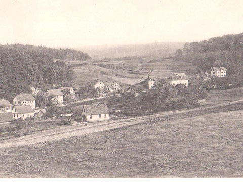 Haus Rudolf Peter direkt über dem einzelnen Haus im Vordergrund, später Haus Murkowski  Aufnahme ca 1905 - Archiv W.Malek
