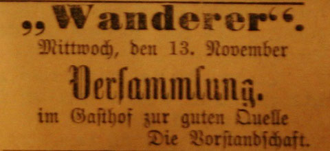 Anzeige aus Stammgast von 12.11.1907 - Sammlung Harry Stein