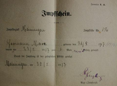 Impfschein vom 30.05.1917, das Geburtsdatum muss 31.08.1916 lauten