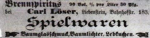 Es muss geklärt werden, wo die Bahnhofstr. 183 zu finden war. Kann Carl Löser mit Wilhelm Löser verwandt gewesen sein ? Stammgast 01.12.1900 - Quelle Monika Reich, geb. Claus