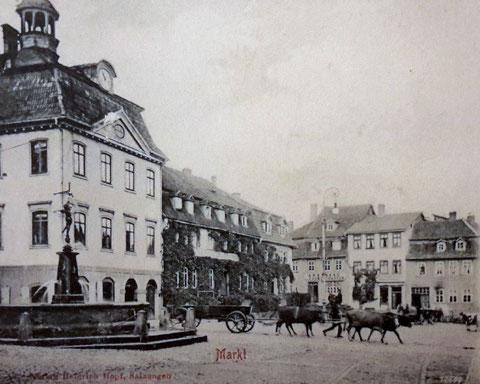 Der Markt um 1910 mit Ochsen- oder Kuhgespann von P.M.Stein