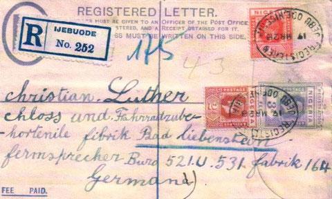 Brief aus Nigeria von 1928  - Archiv M. u. J. Luther