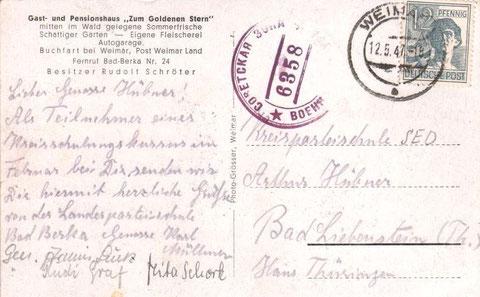 Karte die an die Kreisparteischule im Haus Thüringen adressiert war