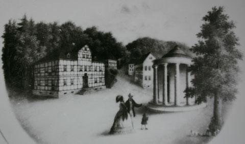 Links Zocher'sches Wirtshaus, die erste Post in Liebenstein - Repro W.Malek