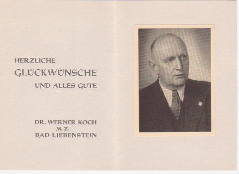 Glückwunschkarte, die Dr. Koch in Gebrauch hatte - Archiv W.Malek