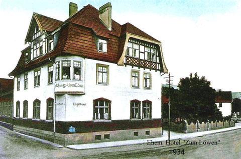 rechts der eigenartig gemauerte Zaun und dahinter die spätere Fleischerei Hesse  - Archiv W.Müller