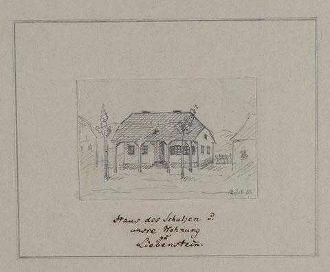 Haus des Schulzen B - Zeichnung von Rudolf Lutter vom Juli 1851 - Lutter lebte von 1831 bis 1913 und war Königlich preußischer Hauptmann in Berlin. Tolle Recherche von Volker Henning