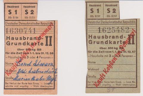 Hausbrand-Grundkarte 1957 und 58 Besitz Kurt Schwarz
