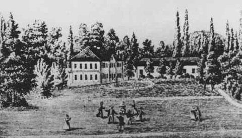 Gelände um das Schlößchen Marienthal 1850 zur Zeit Fröbels