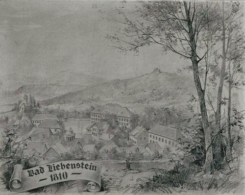 Bleistift-Darstellung Bad Liebenstein 1810 - Quelle  Fritz Lauterbach