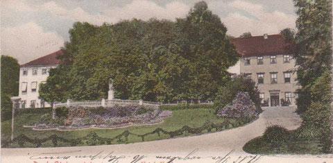 Ansicht von 1901 - deutlich zu erkennen der Malakoff mit dem Greifenbrunnen, die Linden verdecken größtenteils das Kurhaus - Archiv W.Malek