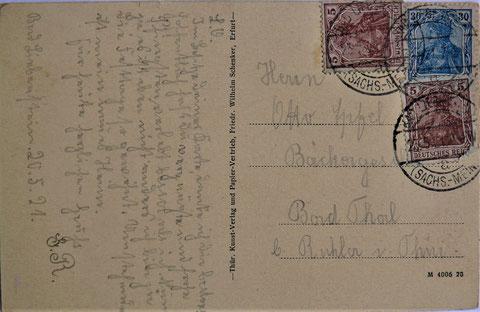 Karte vom 02.05.1921 nach Bad Thal an den Bäckergesellen Otto Apfel