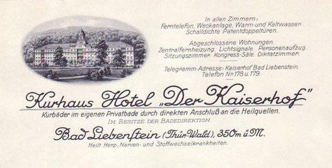 """Briefkopf """"Der Kaiserhof """" - Archiv - W.Malek"""