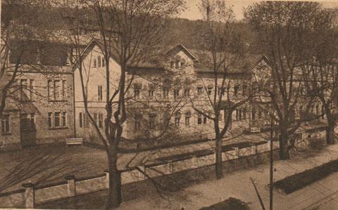 seltene Aufnahme von Schneiders Hotel aus auf Sanatorium Liebenstein und Villa Feodora (oberhalb im Wald)