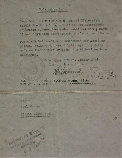 Erlaubnisschein zur Wiedereröffnung des Betriebes 1946