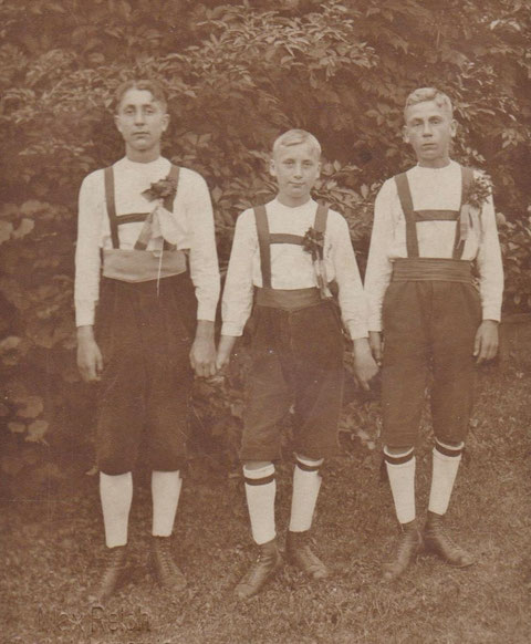 Oskar Bauer Willi Bauer Otto Schwarz v.l. - Sammlung Kurt Schwarz, Foto von Max Reich