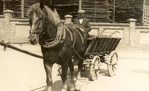 Pferdefuhrwerk August Pfeifer vor C.S. Reich um 1900 - Archiv Kai Ziegler