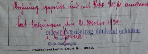 Rechnung vom 10.09.1930