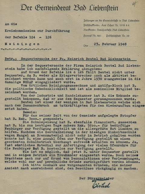 Entlastungsschreiben Bürgermeister Eichel vom 23.02.1948