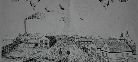 Ansicht von Trupschitz - ganz links das Haus mit der Arztpraxis Dr.Swobodas - Sammlung Ruth Grumptmann