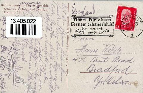 Kartenrückseite vom 21.05.1929, die nach Bradford/Yorkshire geschickt wurde !