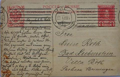 Ansichtskarte, die am 22.01.1914 von Riga nach Bad Liebenstein geschickt wurde - Recherche Volker Henning