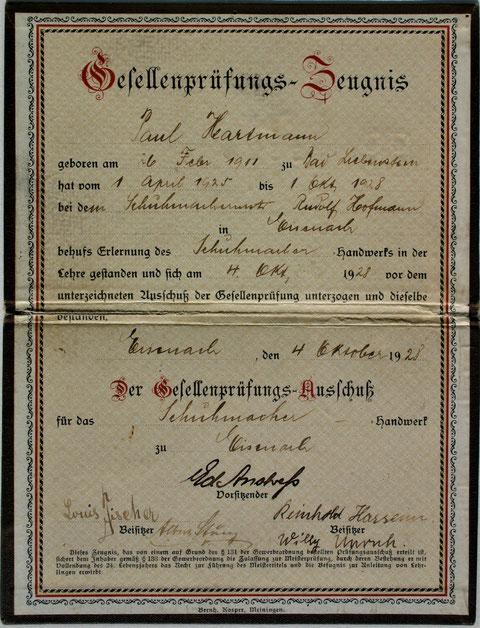 Gesellenprüfungszeugnis für Paul Hartmann von 1928