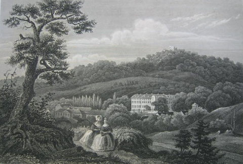 Burg und Bad  - Stahlstich von 1857. 10,9 x 16,2 cm
