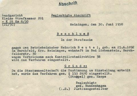 Strafverfahren eingestellt am 30.06.1950