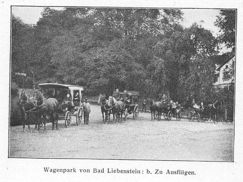 Pferdekutschen im Kurpark, rechts Felsenkeller - Archiv Volker Henning