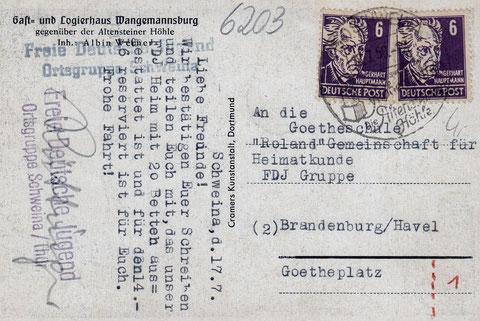 Gast- und Logierhaus Wangemannsburg Schweina - Karte vom 17.07.1950, als das Haus der Freien Deutschen Jugend gehörte