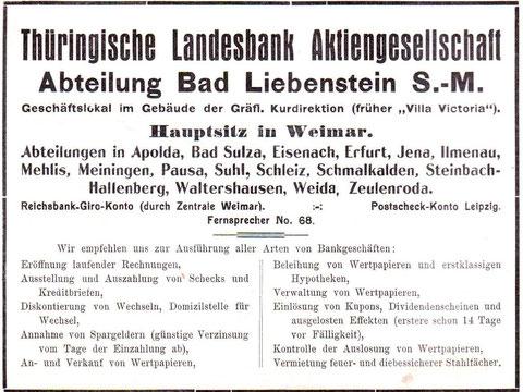Anzeige 1914 in der Badewoche des Gräflichen Stahlbades Bad Liebenstein - Archiv W.Malek