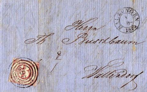 Brief von 1864 von Salzungen nach Wallendorf (Porzellan-Manufaktur), der von Thurn- und Taxis für 3 Kreuzer transportiert wurde