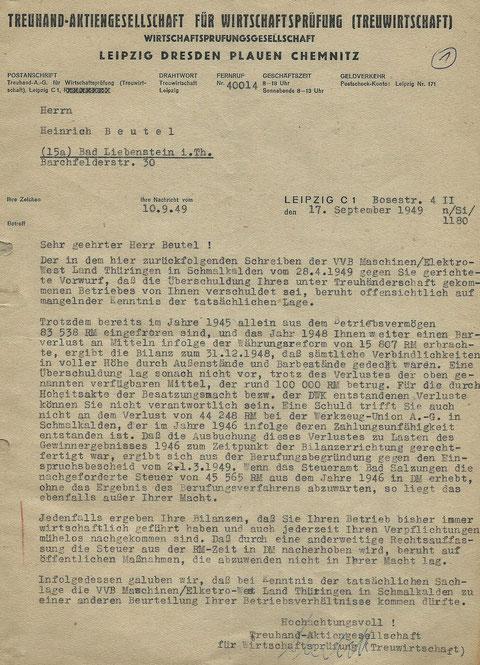 Wirtschaftsprüfung vom 17.09.1949